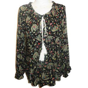 Tunic Blouse Floral Long Sleeve Woman's Tops NWT